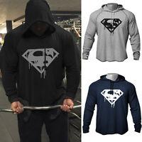 Men's GYM Blood Superman Print Bodybuilding Workout Raglan Hoodies Sweatshirts