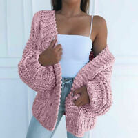 Cardigan Puff Women Knitted Casual Coat Ladies Sweater Front Sleeve Open Outwear