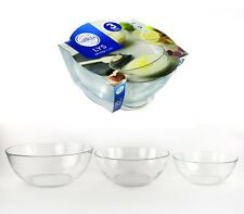 Duralex Set of 3 Glass Bowl set Transparent 17cm 20cm 23cm Bowls LILY
