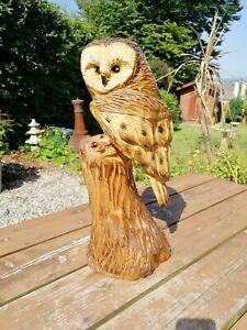 Chainsaw carved Barn Owl, Garden Sculpture