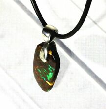 Boulder opal electric green sterling silver swing bail pendant necklace