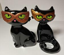 Bath & Body Works Halloween Pair Ceramic Black Cats Orange Masks Candle Holder