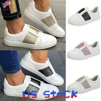 Chic Women Casual Loafers Round Toe Flats Elastic Band Sneakers Walking Shoes US