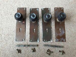 Vintage Wooden Door Knobs Handles Copper Backing Plates Art Deco x 4