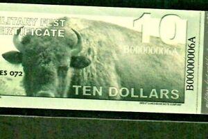"$10 ""MILITARY FEST CERTIFICATE"" ""NICE""  00000006A* (LOWWWW SERIAL) $10 BUFFALO!!"