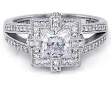 Pretty Designer Princess Cut Diamond Semi Mount, Halo Split Shank Design 14K/18K
