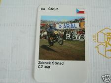 23 MOTO-CROSS 8A CSSR ZDENEK STRNAD CZ 360 MX KWARTET KAART, QUARTETT CARD,