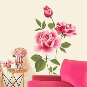 Romantic Rose Flower Love 3d Wall Sticker Home Décor Living Room Bedroom kitchen