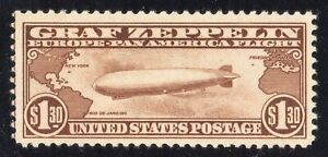 1930 UNITED STATES C14 Brown $1.30 Graf Zeppelin Mint No Gum VF/XF^