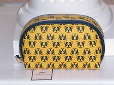 Dabney Lee Double Zip Cosmetic Bag Travel Case Dogs Frenchie Boston Terrier NWT