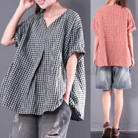 Women Linen Cotton Short Sleeve T-Shirt Plaid Check V Neck Blouse Shirt Tee Plus