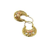 Real 10K Tri Color Gold Filigree Basket Hoop Earrings, Height 30mm, Width 20mm