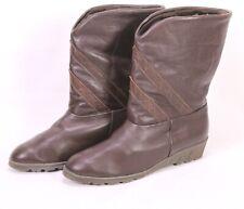 C60 Damen Lammfellstiefel Stiefeletten Leder schwarz Gr. 40,5 Wedge Boho Vintage