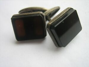 Vintage Silver Soviet USSR Cufflinks #17 Metal Test 875 With Dark Brown Agate