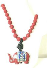 VINTAGE CHINESE  CARVED CINNABAR CLOISONNE ELEPHANT PENDANT NECKLACE 33""