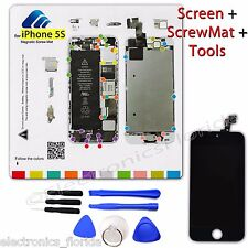 LCD Digitizer Glass Touch Screen + Magnetic ScrewMat + Tools for Iphone 5S Black