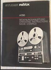 REVOX A700 Tape Deck Original Operating Instructions Owners Manual