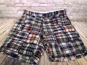 vtg Polo Ralph Lauren mens patchwork madras boating shorts size 38