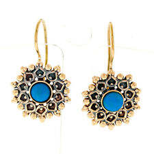 Vintage 14k Rose Gold 5.2mm Round Cabochon Turquoise Textured Wire Back Earrings