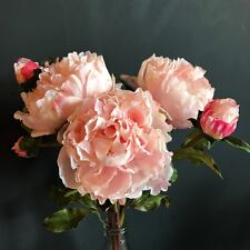 Bunch 3 Large Light Pink Peonies, Realistic Artificial Luxury Faux Silk Flowers