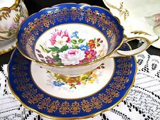 Royal Stafford tea cup and saucer Empress blue & floral rose pattern teacup