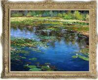 """Old Master-Art Antique Oil Painting Landscape Water lilies on canvas 30""""x40"""""""