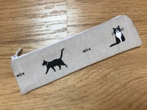 HANDMADE SKINNY PENCIL CASE (20 x 5cm) - SOPHIE ALLPORT PURRFECT CATS FABRIC