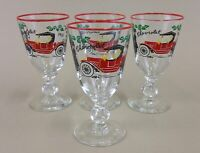 "vintage libbey chevrolet drinking glasses cocktail 5"" tall 4 oz.'s (set of 4)"