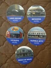 HOTEL POKER MACHINE GAMING TOKENS X 5....ADELAIDE HOTELS...POKIES...10c & 20c