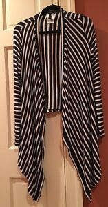 BCBG Max Azria Sweater Size Small Open Front Cardigan Navy Blue White Striped