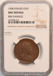 Straits Settlements 1908 Cent NGC UNC NG0977 combine shipping