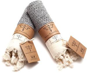 Smyrna Original Turkish Hand Towels Set of 2   100% Cotton, 14 x 40 Inches Gray