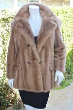 Real Ranch Mink Pastel Fur Double Breasted Coat Stroller Jacket S/M
