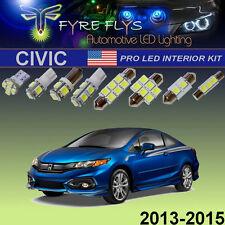 6 Pcs Xenon White LED Interior Lights Package Pro Kit for 2013-2015 Honda Civic