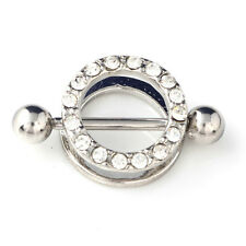 Unisex Nipple Piercing Jewellery: a double round decorative ring on a barbell