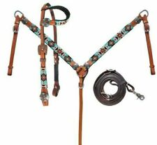 Showman Turquoise & Orange Beaded Aztec Leather Bridle Breast Collar Reins Set