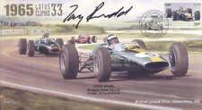 1965d LOTUS 33, BRM P261 FERRARI 158 SILVERSTONE F1 cover signed TONY RUDD