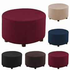 Floding Ottoman Footstool Home Living Room Round Bench Seat Slipcover Foot Rest