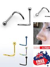 316L 2mm Top Gold Black PVD 20g Nose Bone Stud Screw Ring Body Piercing 1pc