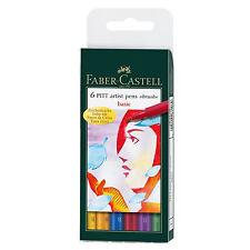 Faber-Castell Pitt Artist Pens ~ Basic Colors ~ Size B (Brush) ~ 6 Pens ~ NIP