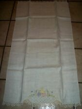 "ANTIQUE VINTAGE  CROCHET GUEST TOWEL  HAND NEEDLE POINT SIZE  16 "" x 30"" INCHES"