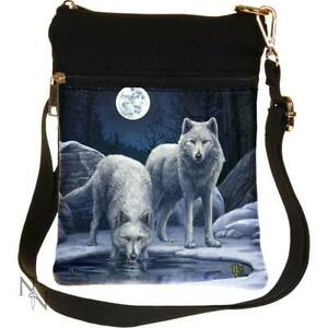 Small Warriors Of Winter White Wolf Shoulder Bag by Lisa Parker Full Moon Snow
