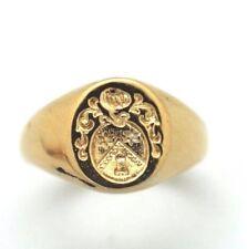 Bague Chevalière Armoiries [BAGUE- RING - ANNEAU] Or jaune 750/000 TAILLE 48**