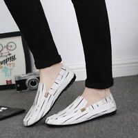 Mens Canvas Stripes Embroidery Loafers Slip On  Moccasins Casual Gommino Shoes