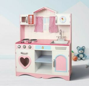 MCC® Large Girls Kids Pink Wooden Play Kitchen Children's Play Pretend Set Toy