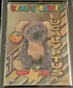 TY BEANIE BABIES CARD S3 GOLD B'DAY EUCALYPTUS, #59/100,1999, MINT IN HOLDER