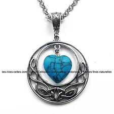 Bijoux Celtiques Collier pendentif entrelacs et coeur en Howlite turquoise