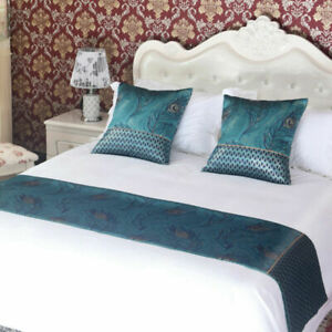 Blue Bed Runner Scarf Protector Slipcover Pillowcase Double Layer Bedding Set