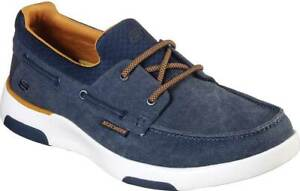 NEW Mens SKECHERS Bellinger Garmo Navy CANVAS Boat Shoes AUTHENTIC IN BOX