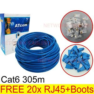 Sale Cat6 305M UTP Ethernet Lan Network solid Cable Roll RJ45 plug & boot free